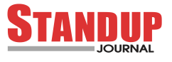black and red standup journal logo